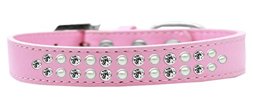 Mirage Pet Products Two Row Pearl and Clear Crystal Light Pink Dog Collar, Size 20 by Mirage Pet Products