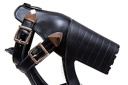 Vestir Negro Abierta Cremallera Tacón Alto Puntera De Aalardom Mujeres Sandalias Pu xHqPCP