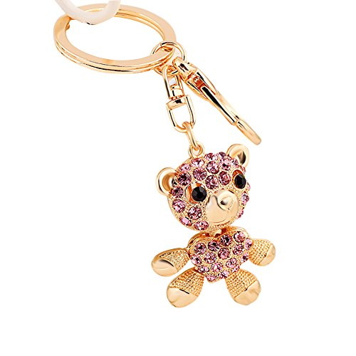 (Colorido Women Fashion Bear Shape Rhinestone Keychain Cute Car Key Ring Handbag Pendant Decor Gift Pink )