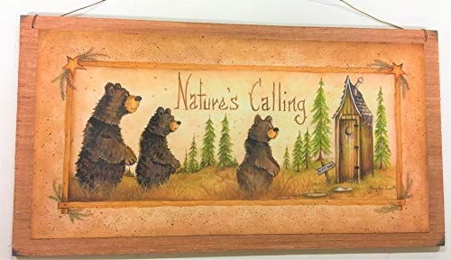 - Natures Calling Country Bathroom Sign Outhouse Lodge Bath Decor Moon Stars Bears Size 7x13