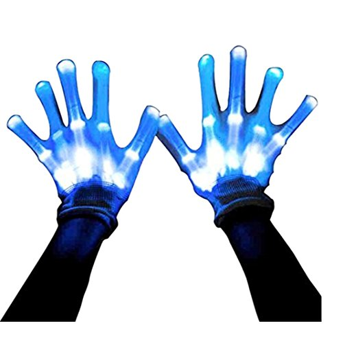 Led Dancing Skeleton Gloves, Hand Flashing Light Shows Halloween Costume, Novelty Christmas Gift (Led Light Costumes)