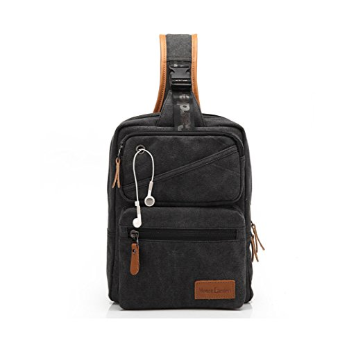 MOORE CARDEN Fashion Men's Canvas Cross Body Daypacks Chest Pack Bag(Black)