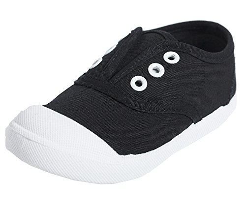 (Kikiz Candy Color Kids Toddler Canvas Sneaker Boys Girls Casual Shoes Black Size 12M)