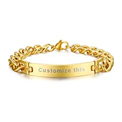 PJ Personalized Custom Engraving Plain Stainless Steel ID Bracelets for Men Women, Name Plate Identity bracelet  OUR PROMISE TO YOU....  * Free gift ready packaging with every jewelry piece* 30 days money back guarantee, 100% secure shopping*...