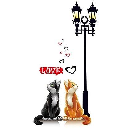 Amazon.com: DealMux Cat Street Lamp Pattern Room Decor removível adesivo parede Wallpaper: Home & Kitchen