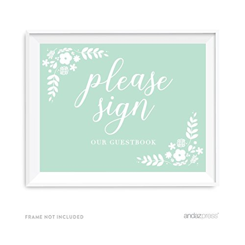 Andaz Press Floral Mint Green Wedding Collection, Party Signs, Please Sign our Guestbook, 8.5x11-inch, 1-Pack
