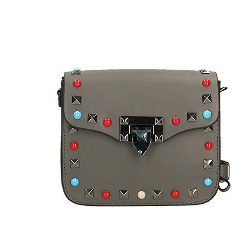 Pochette da donna Piccola tracolla con tracolla Vera pelle Made in Italy - 18x15x7 Cm (Colore : Light Mud, Dimensione : -) Grigio