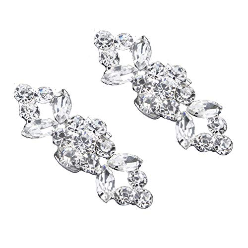 2PCS Fashion Crystal Rhinestone Shoe Clips Shoes Decoration Charms Shoe Buckle for Women Party Bridal Wedding (Clips Rhinestone Shoe)