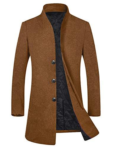 APTRO Men's Fleece Lining Slim Fit Wool Trench Coat 1681 Camel XL