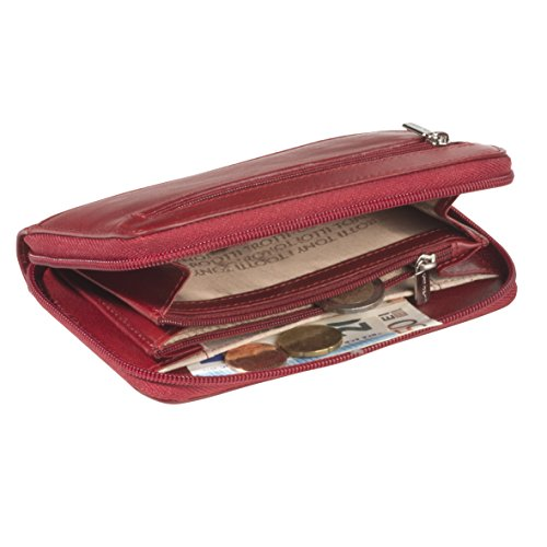 Damen Geldboerse mit Reißverschluss, Farbe Rot, TE-2250-15-CA
