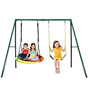 #LightningDeal Trekassy 440lbs 2 Seat Swing Set, 1 Saucer Swing Seat and 1 Belt Swing Seat with Heavy Duty A-Frame Metal Swing Stand