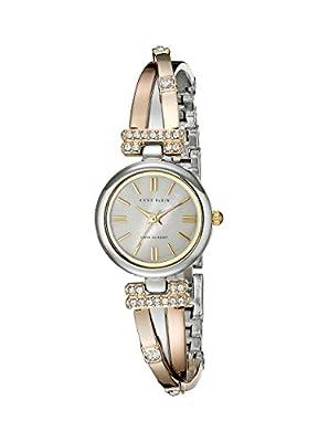 Anne Klein Women's 10/9479MPTR Tri-Tone Bangle Watch with Swarovski Crystal Accents