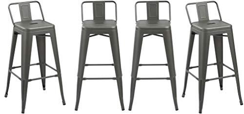 BTEXPERT 5089-4 Barstool Industrial 30 inch Gunmetal Indoor Outdoor Low Back Counter Metal Bar Stool Set of 4, 30