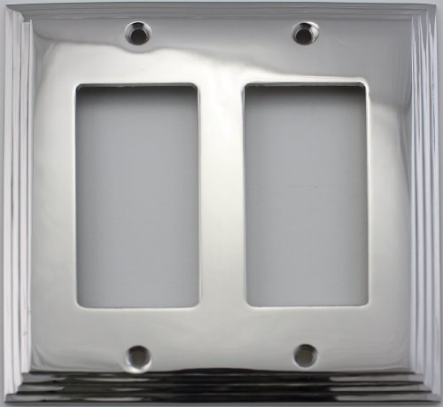 - Polished Nickel Deco Step Style 2 Gang GFI/Rocker Switch Plate