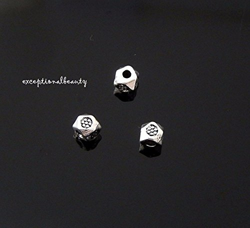 100 Tibetan Antiqued Silver Tiny 4x3mm Rhombus Flower Print Spacer Accent Beads