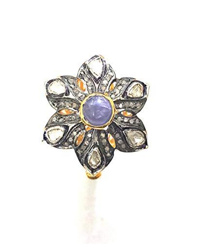 (Genuine Blue Tanzanite Gems & Rose Cut Diamond Solitaire Ring 925 Silver Ring Engagement Ring)