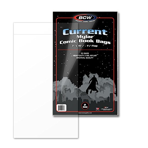 (25) Current Age Comic Book Bags Mylar 4 Mil By BCW. The #1 Bag Sleeve for Archival Quality Protection for Comic Book Storage Supplies. Crystal Clear and Made of MYLAR (Archival Polyester Sheet Protectors)