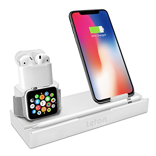 LEFON Aluminum 6 In 1 AirPods Station Apple Watch iPhone Charging Docks Holder for AirPods/Apple Watch Series 3&2 / iPhone X/8 by Lefon