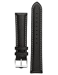 Signature Buffalo watch band. Replacement watch strap. Genuine Leather. Silver buckle (16 mm, Black with White)