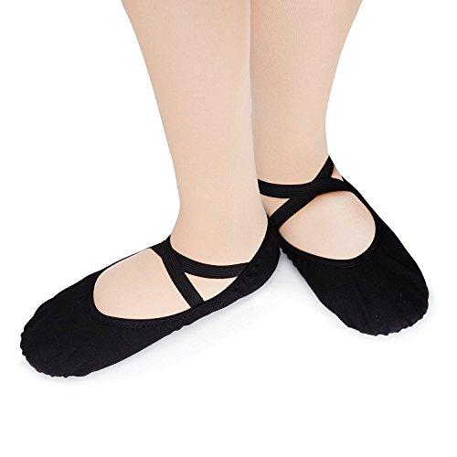 Zapatillas de baile para mujer (tejido suave, disponible en varias tallas) negro
