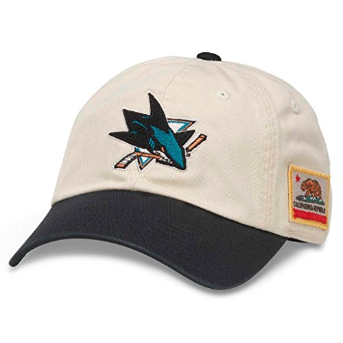 American Needle United Slouch NHL Team Casual Dad Hat San Jose Sharks, Ivory/Black (43572A-SJS)
