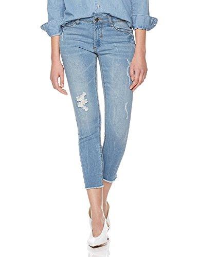 Lily Parker Women's Distressed Slim Fit Denim Pants Skinny Jeans 25 Mid (Hem Capri Jean)