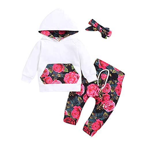 Baby Girl Fall Sweatshirt Floral Hoodie Top+Floral Pants +Headband 3PC Fall Outfits Set 12-18months (Hooded Baby Jumper)