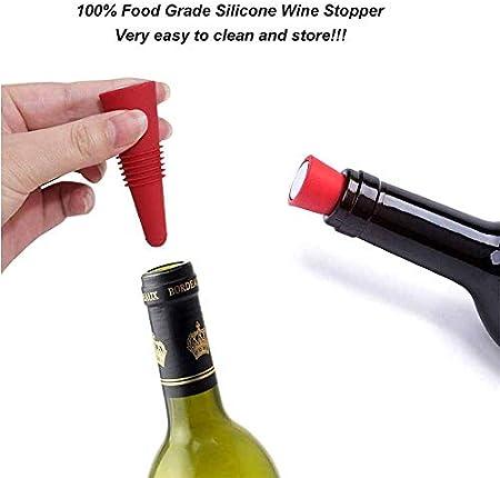 Tapón de Vino Tinto,10 Piezas Tapón de Silicona para Vino,Tapas de Botellas de Vino de Silicona,Tapón de Botella de Silicona Reutilizable,para Sellar y Conservar Vino, Cerveza, Vino Espumoso