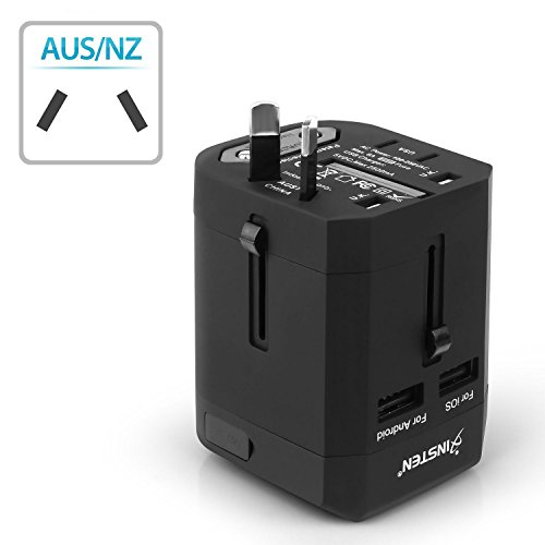 Insten Universal Worldwide Travel Adapter Wall Charger Power Plug AC Adapter with Dual USB Charging Ports for US/EU/UK/AU International Cellphone Laptop, Black by INSTEN (Image #5)