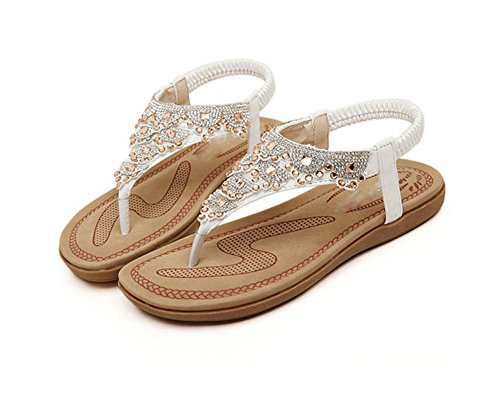 RuiWort-Art weibliche Sandalen Klippzehe Strandschuhe flache Schuhe wilden Schuhe White