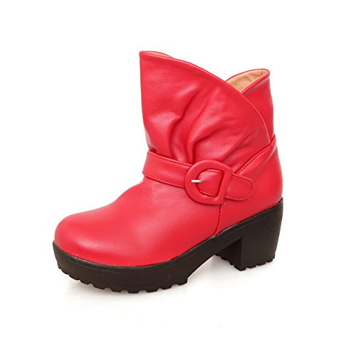 Heels Red 5 with Short Womens Closed Plush Solid Chunky Toe M US 6 B Kitten AmoonyFashion Boots Heels PU Round wOFqxpp6A