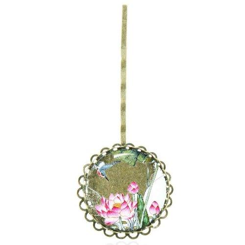 Epingle à cheveux au cabochon vintage aux lotus asiatiques