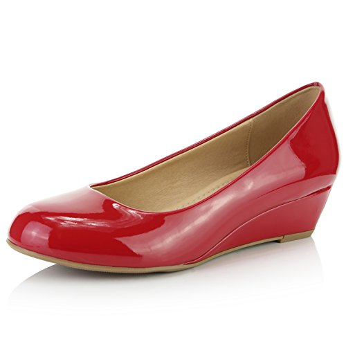 - DailyShoes Women's Comfortable Fashion Low Heels Round Toe Wedge Pumps Shoes, Red Patent Leather, 7 B(M) US