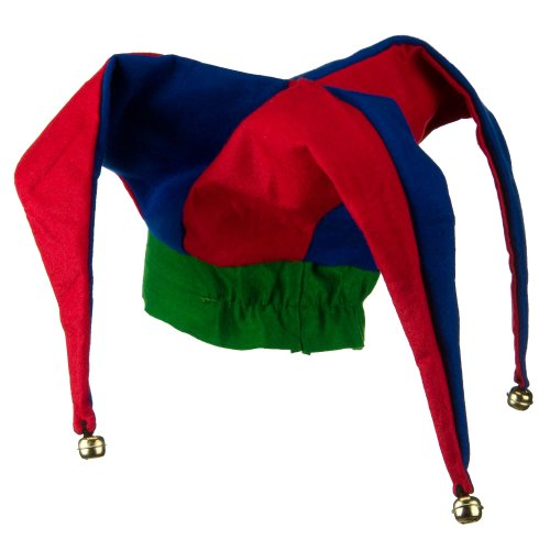 Deluxe Felt Jester Hat - Red Blue Green OSFM