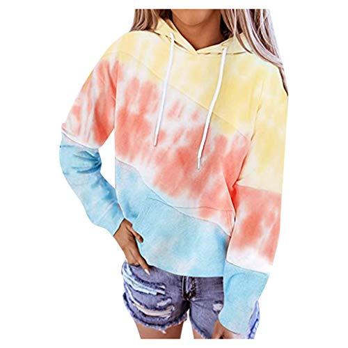 Allegorly Damen Tie Dye Hoodie Kapuzenpullover Rundhals Langarm Lose Pullover Sweatshirt Farbblock Bluse Tops Langarmshirt Sommer Shirt