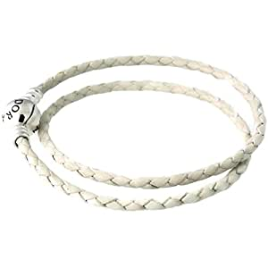 Pandora Women's Silver leather bracelet double ivory white - 590745CIW-D1