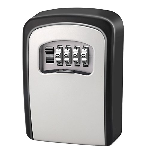 x,4- Digit Combination Key Lock Box Wall Mount for Outside House Key,Resettable Code ()