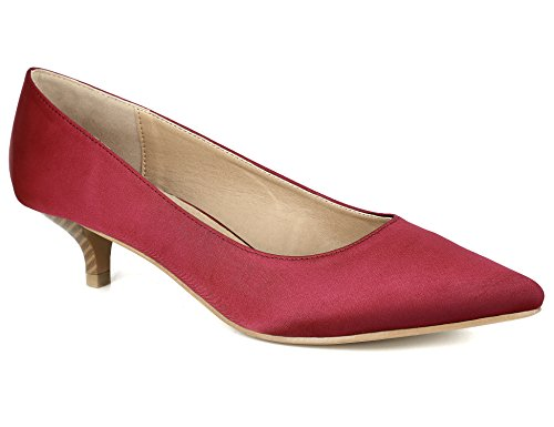 Greatonu Womens Red Satin Smart Formal Classic Mid Steaked Kitten Heel Suede Dress Pumps Court Shoes Size 5 US / 36 EU