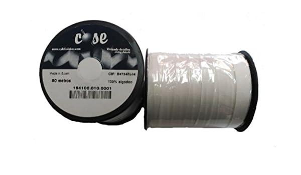 50 metros de Beta blanca de 10mm de la marca Cose 100% algodón: Amazon.es: Hogar