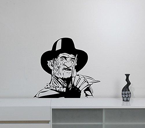 Freddy Krueger Wall Sticker Removable Vinyl Decal A Nightmare On Elm Street Art Decorations for Home Living Room Bedroom Office Horror Movie Decor krg2 -