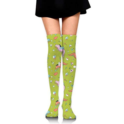 452851dcd GongYe Women s Compression Socks Ridable Dinosaur With Diamond Thigh High  Socks Over The Knee Stockings BlackOne