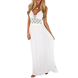 LILBETTER Women's Beach Crochet Backless Bohemian Halter Maxi Long Dress
