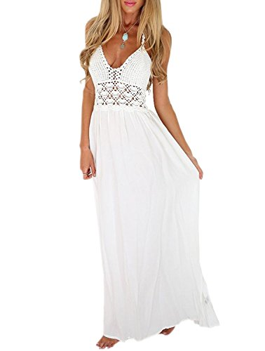 LILBETTER Women's Beach Crochet Backless Bohemian Halter Maxi Long Dress (L, White)
