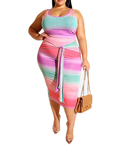 Womens Sexy Plus Size Two Piece Outfits - Floral Print Tank Tops + Belted Summer Bodycon Long Dresses Skirts Set Pink Ombre 3XL ()
