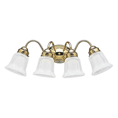 Sea Gull Lighting 4873-02 Brookchester Four-Light Bath or Wall Light Fixture with Clear Ribbed Glass Shades, Polished Brass Finish