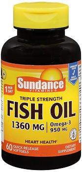 Sundance Vitamins Fish Oil 1360 mg - 60 Softgels, Pack of 6