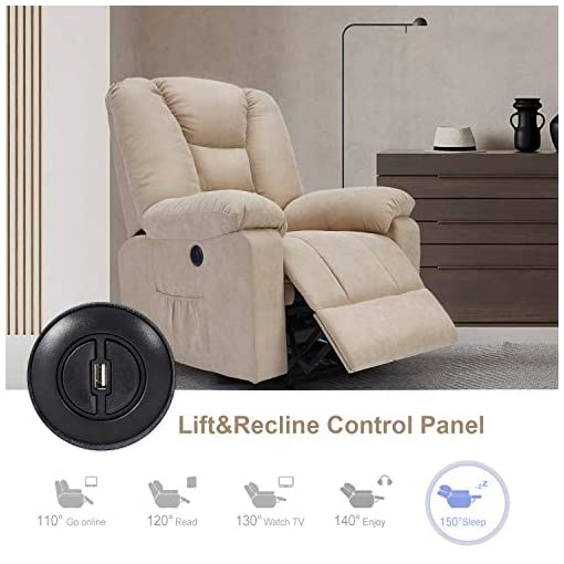 Living Room Esright Microfiber Power Lift Electric Recliner Chair with Heated Vibration Massage Sofa Fabric Living Room Chair with 2…