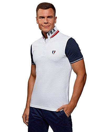 Mens Organic Pique Polo - oodji Ultra Men's Combo Polo Shirt in Pique Fabric, White, US 42-44 / EU 52-54 / L