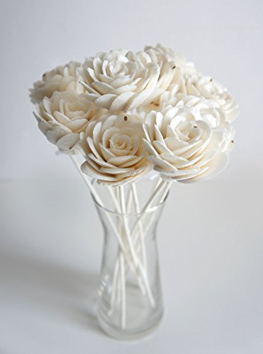 Plawanature Set of 10 Damask Rose White Sola Flower with Reed Diffuser for Home Fragrance.