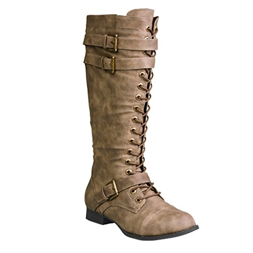 Twisted Women's Trooper Knee-High Extended Calf Faux Leather Military Boot - TROOPER81P BROWN, Size (Wide Calf Lace Up Boots)